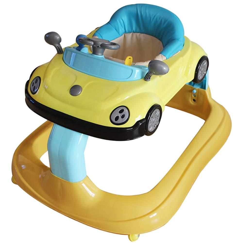 幼児の赤ちゃんの子供の歩行器多機能アンチロールオーバー抗Oの足の男の子と女の子6-7-18ヶ月スロープブレーキ付きトロリー (色 : イエロー いえろ゜)  イエロー いえろ゜ B07KRWJRF1