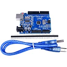 Quimat Arduino UNO R3 ATmega328P CH340 Development Board Compatible Arduino IDE Development Kit Microcontroller with USB Cable Straight Pin Header 2.54mm Pitch Robot Parts