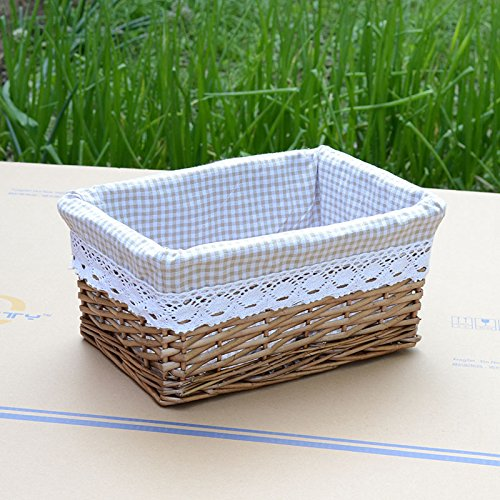 Willow wicker storage basket with liner coffee color bins baskets home ebay - Wicker hamper with liner ...