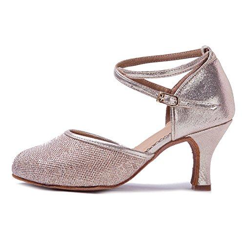 Roymall Kvinna Latinska Dansskor Sällskaps Salsa Tango Prestanda Skor, Modell Wx-cl Ökade Guld