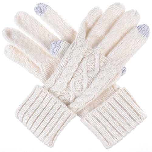 Byos Women Winter Wool Blend Cable   Leafy Pattern Texting Knit Gloves W  Two Fingertips Conductive Tech For All Touch Screen Devices Smartphone   Tablet  White Cable