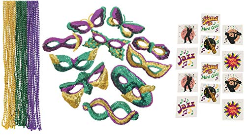 96 Piece Mardi Gras Party Supplies- Sequin Masks, Beads, and Tattoos