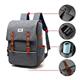 Puersit 15Inch Vintage Backpack for Laptop Unisex Canvas Backpack Travel Bag (Gray)