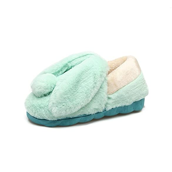 Cute Bunny Ear Fully Wrapped Slippers Winter Soft Plush Memory Foam Indoor Shoes