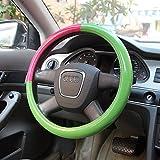 B&Y Fashion Plaid Car Steering Wheel Covers-Apply to 15inch Diameter (pink)