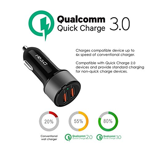 Large Product Image of Samsung Galaxy Note 8 / S8 / S8 Plus Car Charger - iRAG 36W Qualcomm Quick Charge 3.0 Two-Port USB Adapter with 6 ft USB Type C to A Charging Cable Cord
