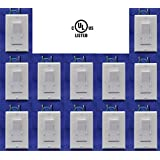 Led dimmer switch 12 pack: With 12 White Plates, 120V, 3 Way Dimmer Switch, Maximum 150w Dimmable Led Lights