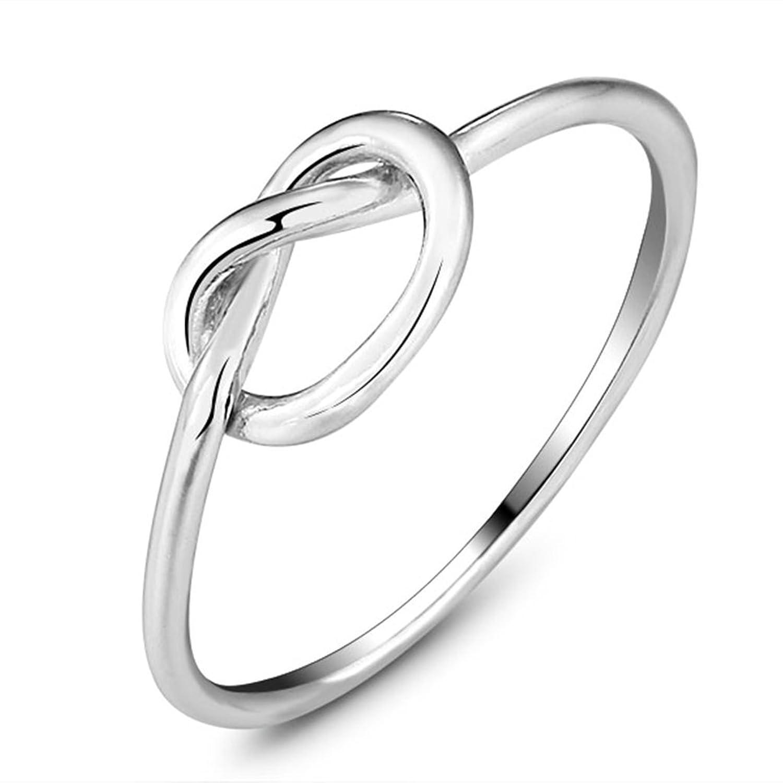 Bishilin Damen Ebene Dünn Thin Unendlichkeit Knot Ringe Schn S925 Silber Band 6mm