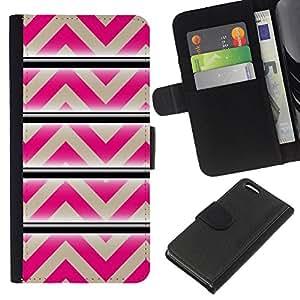KLONGSHOP // Tirón de la caja Cartera de cuero con ranuras para tarjetas - Modelo rosado beige líneas abstractas - Apple Iphone 5C //