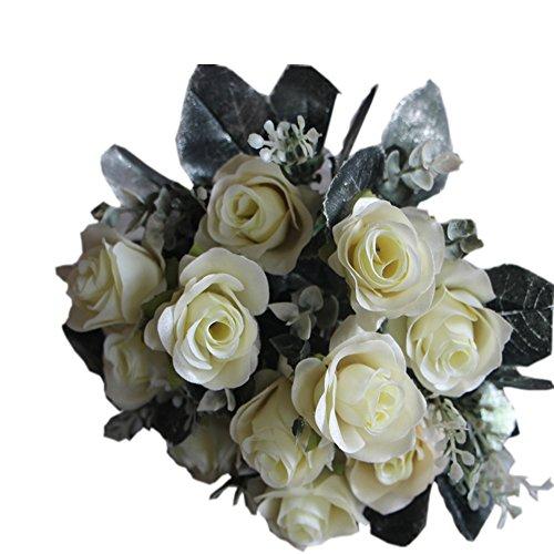 Hot Valentine Wedding Party Gift Centerpiece Decor Simulation Silk Flower European-Style Rose Artificial Plants-Invory