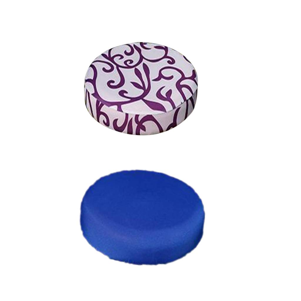 Homyl Round Bar Stool Covers Chair Seat Cover Cushions Sleeve Slipcover 11-14inch 6 Mixed Color Available - Blue+White
