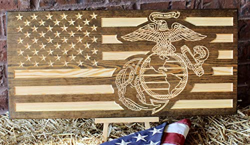 (Marine Corps American Flag Engraved Wood Sign)