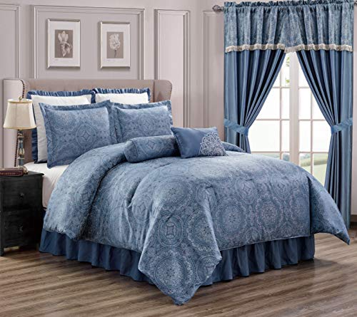 Chezmoi Collection Anastasia 8-Piece Blue Silver Jacquard Medallion Floral Comforter Set Full Size (Silver Blue And Comforter)