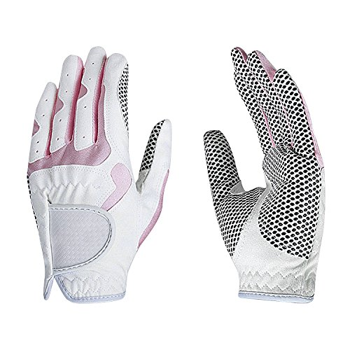 Fashion Golf Gloves, Women's Ladies Girls All Weather Leather Golf Gloves with Non-slip Grip, Soft, Breathable, Wear-resistant, A Pair/2 Pack for Left & Right Hand Golf Rain Gloves
