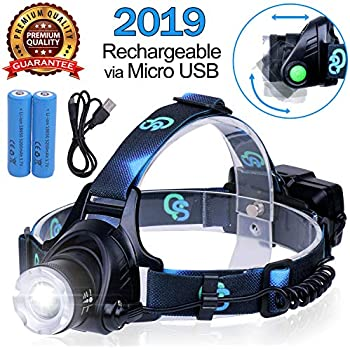 Rechargeable Headlamp, Hard Hat Light – Adults LED Headlamp Flashlight, Perfect Headlamps for Camping, Head Lamps for Adults, Head Flashlight, Lamparas ...