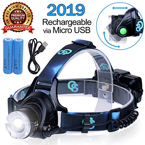Rechargeable Headlamp, Hard Hat Light – Adults LED Headlamp Flashlight, Perfect Headlamps for Camping, Head Lamps for Adults, Head Flashlight, Lamparas Recargables.