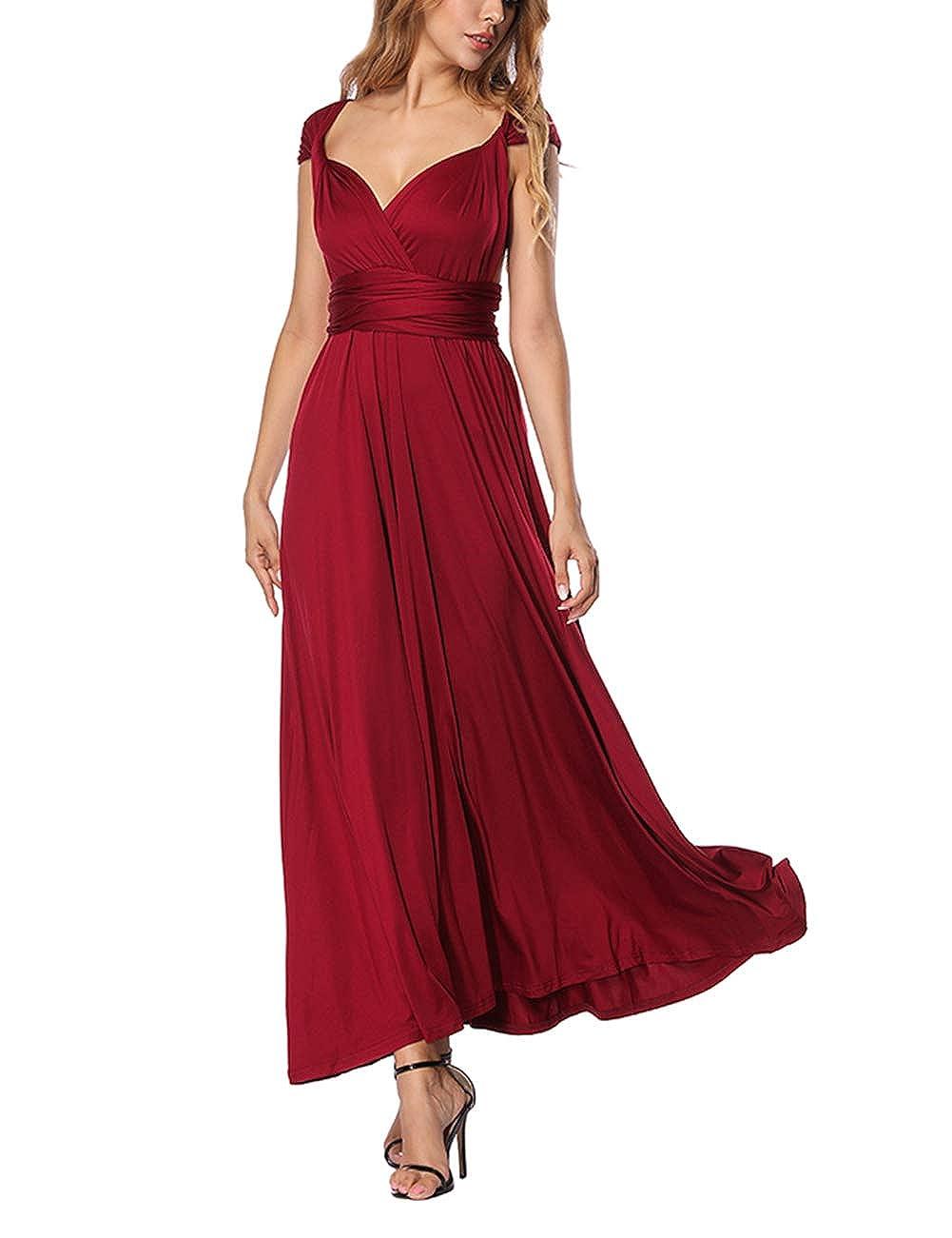 TALLA XL(ES 46-50). FeelinGirl Mujer Vestido Maxi Convertible Espalda Decubierta Cóctel Multiposicion Tirantes Multi-Manera Largo Falda para Fiesta Ceremonia Sexy y Elegante Rojo Tinto XL(ES 46-50)