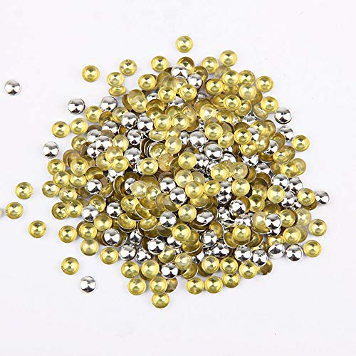 Beadsland Dome Studs Hotfix in Size 5mm,1/3 Round Flat Back Dome Studs with 500pcs(Silver)