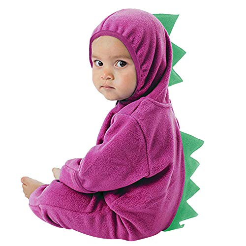 2018 Infant Toddler Zip Clothes Jumpsuit,Baby Girls Boys Dinosaur Hoodie Romper (6-12 Months, Purple)