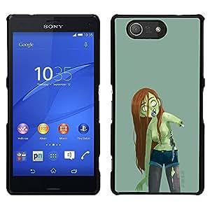 Be-Star Único Patrón Plástico Duro Fundas Cover Cubre Hard Case Cover Para Sony Xperia Z4v / Sony Xperia Z4 / E6508 ( Zombie Green Girl Woman Long Brown Hair )