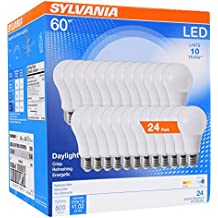 Sylvania Home Lighting 74766 A19 LED Sylvania 60W Equivalent Light Bulb Lamp, Efficient 8.5W, Bright White 5000K, 24 Pack, Piece