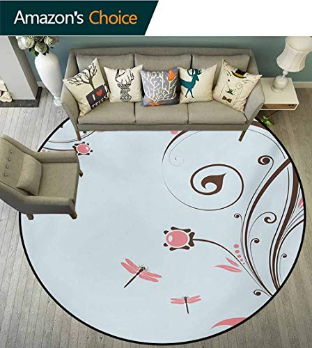 Dragonfly Round Area Rugs Living Room,Swirled Shabby Chic Blossom Branches Fragrance Essence Theme Study Computer Chair Cushion Base Mat Round Carpet,Diameter-71 Inch Dark Brown Baby Blue Pale Pink