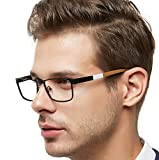 OCCI CHIARI Men Metal Optical Eyewear Frame With Clear Lenses Eyeglasses 52mm (Black/Dull Gold)
