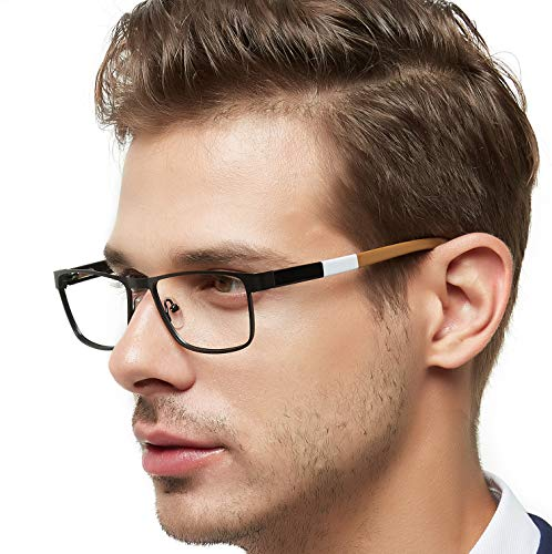 l Optical Eyewear Frame With Clear Lenses Eyeglasses 52mm (Black/Dull Gold) ()