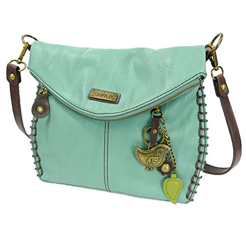 Chala Charming Crossbody Bag With Flap Top | Flap and Zipper Teal Cross-Body Purse or Shoulder Handbag with Metal Chain - Teal - - Handbag Flap Medium
