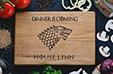 Dinner is coming Games of thrones House Stark Personalized Engraved Cutting Board Custom Family chopping Wedding Gift Anniversary Housewarming Birthday