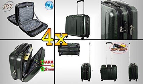 4 pezzi SET bifamigliare, per 2 x nero + argento valigetta da viaggio, borsa da viaggio, PREMIUM XXL valigetta da pilota in-offerta, business valigetta resistente, zaino borsa easybiz, hker, Trolli, per mano bagagli, stabile e manico telescopico e ruote