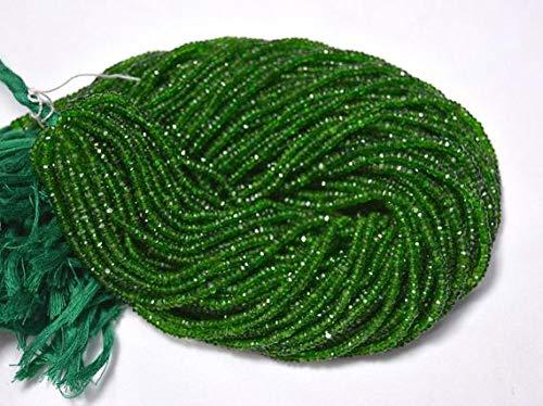 GemAbyss Beads Gemstone 3mm Green Tourmaline Rondelle Beads, Tourmaline Faceted Rondelles Beads, Gemstone Beads 13 Inches Strand Code-MVG-24000
