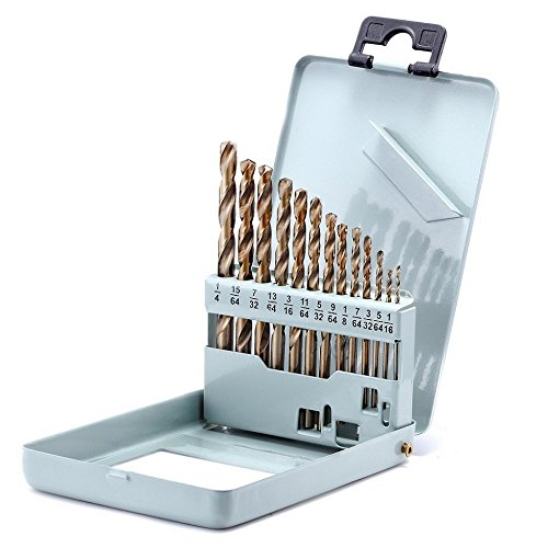 Drill Bit Set Twist Drill Bits Made of Cobalt Steel, M42 HSS 135 Degrees, Straight Shank and Metal Storage Case,for Drilling Metal, Wood and Plastics - Cobalt Steel Metal