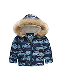Tenworld B Boys Car Print Winter Fur Hooded Outerwear Quilted Padded Puffer Coats