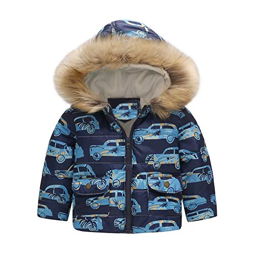 VEKDONE Baby Winter Coat with Scarf & Hat Warm Fur Collar Hooded Down Windproof Jacket -