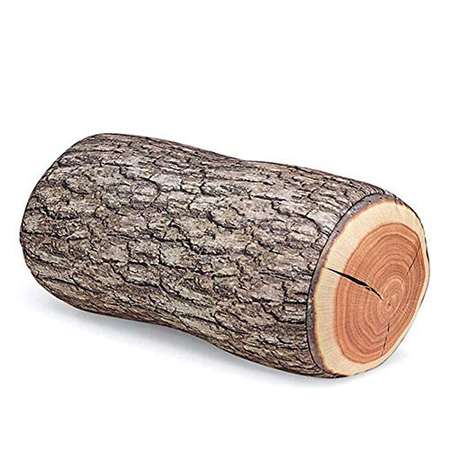 Potelin Tree Wood Cushion Stump Pillow Log Cushion Round Woods Grain Stump Shaped Decorative Environmental Protection Suitable for Rooms or Sofas