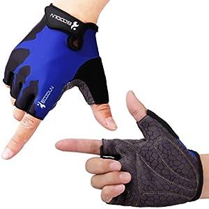 HIKING サイクリンググローブ 夏 3D 立体 サイクルグローブ 自転車 手袋 衝撃吸収 耐磨耗性 換気性 通気性 速乾性 滑り止め付き 3色 男女兼用 (ブルー, L)