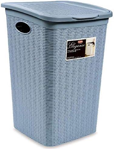 汚れたハンマー洗濯用バスケット家庭用浴室の衣類の収納バスケットバスルーム洗濯用バスケット50リットルの容量サイドハンドルのデザインクラムシェルのデザイン 玄関収納 (Color : Blue, Size : 38*37*54cm/15*14*21inch)