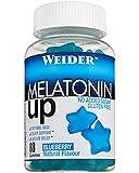 Melatonine Up. 60 gummies, Sabor Blueberry. 1 mg de melatonina por gominola. Sin gluten y sin azúcar