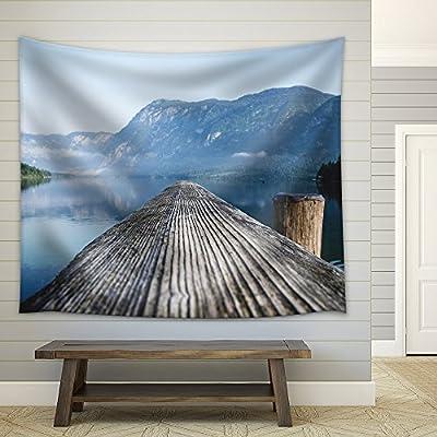 Beautiful Landscape of Wood Bridge on The Lake Fabric Wall Small