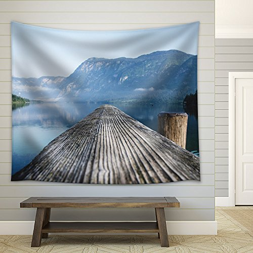 Beautiful Landscape Wood Bridge on the Lake Fabric Wall