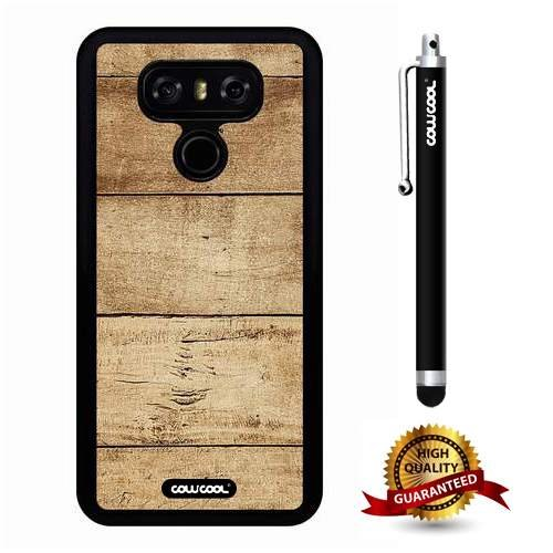 LG G6 Case, Wood Texture Case, Cowcool Ultra Thin Soft Silicone Case for LG G6 LGH870M - Transverse Yellow Plank Wood (Yellow Balau Wood)