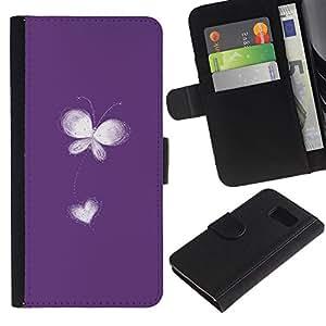iKiki Tech / Cartera Funda Carcasa - Flower Heart Love Freedom White Minimalist - Samsung Galaxy S6 SM-G920
