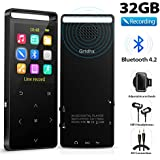 MP3 Player with Bluetooth, Grtdhx 32GB Portable Digital Music Player Support FM Radio Photo Browsing Video Play Pedometer Voice Recorder Text Reading with Earphone Armband for Sport Running