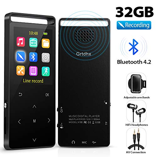 MP3 Player with Bluetooth, Grtdhx 32GB Portable Digital Music Player Support FM Radio Photo Browsing Video Play Pedometer Voice Recorder Text Reading with Earphone Armband for Sport Running (Power Tip Bluetooth Headset)
