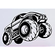 YINGKAI Cartoon Monster Truck Vinyl Racing Car Sticker Living Room Home Vinyl Carving Wall Decal Sticker for Kids Room Home Window Decoration (S 23x15.3 inches)