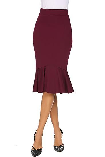 b6df14333 Qearal Womens High Waist Wear to Work Mermaid Bodycon Stretchy Pencil Skirts  Knee Length (S