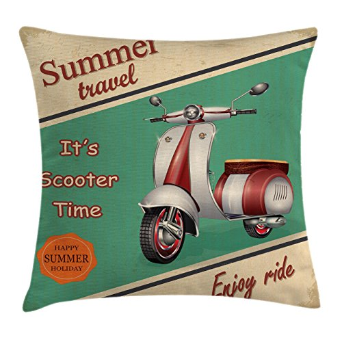 Ambesonne Vintage Decor Throw Pillow Cushion Cover, Scooter Motorbike Summer Travel Italian City Sight Hipster Enjoy Ride Illustration, Decorative Square Accent Pillow Case, 16 X 16 inches, Multi