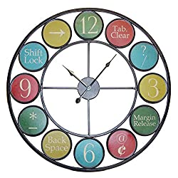 Large 23 Metal Multicolored Keyboard Symbol Wall Clock