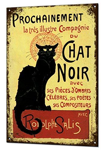Chat Noir Black Cat Vintage Metal Sign Retro Tin Holiday Plaque Advert ()